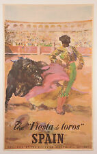 "ORIGINAL 1947 ""FIESTA DE TOROS"" SPAIN BULLFIGHTING EUROPE TRAVEL POSTER  SIGNED"