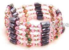 SALE Pink 6mm round Cloisonne Hematite Magnetic Beads necklace / Bracelet-br277