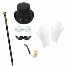 Men's Victorian Gentleman Steampunk Halloween Top Hat Fancy Dress Costume Set