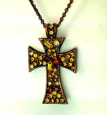 YELLOW STONE AND RUST COLOURED TRADITIONAL CROSS NECKLACE