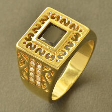 Authentic Yellow Gold Filled Black Swarovski Crystal Mens Ring,Size 10 Fashion