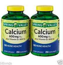 Spring Valley Calcium Supplement 600mg with Vitamin D 500 ct Osteoporosis Bone