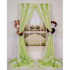 CURTAIN CRITTERS BABY NURSERY JUNGLE SAFARI GIRAFFE & MONKEY CURTAIN TIEBACK SET