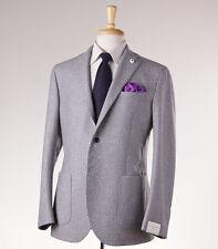 NWT $1150 LUIGI BIANCHI Gray-White Basketweave Pattern Wool Sport Coat 48/38 R