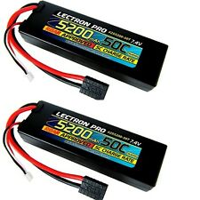 (2) Lectron Pro 2S 7.4V 5200mAh 50C Lipo Battery Pack w Traxxas Connector