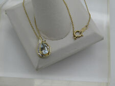 14k Yellow Gold Pear Cut LIGHT Aquamarine Round Diamond Accent Pendant Necklace