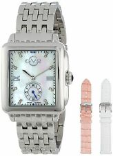 GV2 by Gevril Women's 9200 Bari Rectangle MOP Dial Stainless Steel Wristwatch