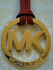 "New Michael Kors 2"" MK Gold Charm With Red Genuine Leather Strap Handbag Tag Fob"