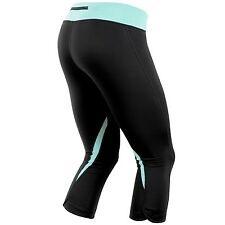 NWT Pearl Izumi Women's Fly 3/4 Run Capri Black Auruba Blue Size Women's Small