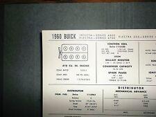1960 Buick Invicta Electra 225 Models 410 V8 SUN Tune Up Chart Super Condition!