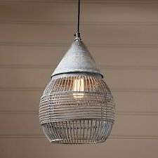 Large Retro Cage Pendant ~ Hanging Industrial Farmhouse Light in Weathered Zinc