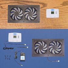 DUAL Mega-fan Cabinet AV Cooling Fans w/Digital thermostat /multi-speed control