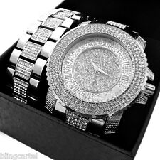 Hip Hop Watch Set Iced-Out Silver Tone Roman Numerals Mens Bling Bracelet Combo