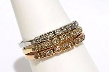 Set of 3 Vintage 14K Rose, Yellow & White Stackable Diamond Rings .30 ctw Size 7