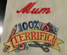 personalised embroidered tea towel 100% TERRIFIC - add a free name
