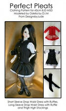 Pleat Dress Doll Clothes Sewing Pattern 43cm Ball Joint MSD Dollfie