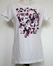 Converse All Star White and Dark Pink Shattered Shoe Print S/S T-Shirt M JR