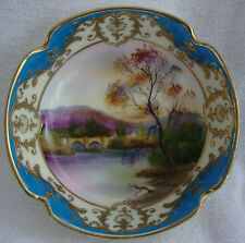 A RARE JAPANESE NORITAKE PORCELAIN BOWL LOVELY GILT WORK & PAINTED BRIDGE SCENE