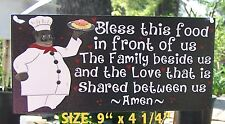 FAT CHEF AFRICAN AMERICAN BLESS  FOOD FAMILY SIGN WALL KITCHEN BISTRO CUCINA