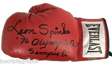 "LEON SPINKS SIGNED BOXING GLOVE #D/10 INSCRIBED ""76 OLYMPIC GM & SEMPER FI"" ALI"