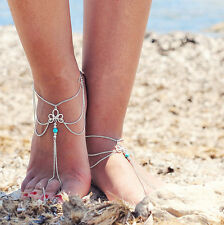 Lot 2 Pcs  Sexy Bead Luck Knot Ankle Toe Slave Foot Chain Sandal Beach Anklets
