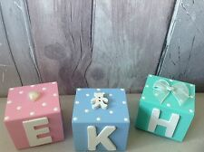 Wooden Baby Name LETTER Blocks Shower Cube Nursery Decor New Baby Boy Girl