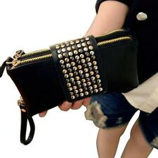 Black Bling Leatheroid Wallet Bag Women Handbag Rivet Clutch Purse