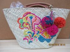 TRINA TURK NWT EMBROIDERED STRAW LARGE COLORFUL TOTE BAG W/POM POMS