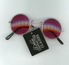 Steampunk Deluxe Character Glasses Rock Star Gold Wire Rims One Size Purple Lens