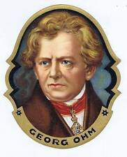 George OHM, original outer cigar box label, portrait