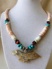 TURQUOISE HEISHI SILVER SHELL HEISHI MOTHER OF PEARL CARVED EAGLE NECKLACE