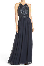Vera Wang New Cutout Back Sequin & Chiffon Gown Size 6 MSRP $348 #HN 398