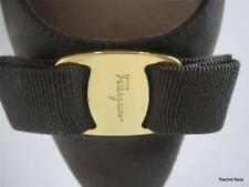 $475 FERRAGAMO 7.5 A Suede Gold Bow Rounded Pointy Toe Brown Flats Shoes Narrow