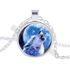 Vintage Moon wolf Cabochon Tibetan Silver Glass Chain Pendant Necklace BO073