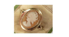 VINTAGE 9ct GOLD & REAL SHELL CAMEO SET RING