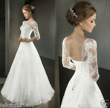New Sexy White/Ivory Lace Wedding Dress Bridal Gown Custom Size 6 8 10 12 14 16+