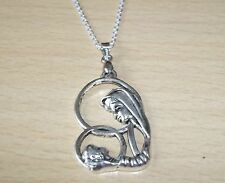 TIBETAN SILVER MOTHER & CHILD MARY BABY JESUS PENDANT  & 18inch CHAIN