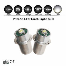 2Pcs Mag Lite LED Upgrade Bulb P13.5S Torch Flashlight 3-12V D C Cell CREE 3W