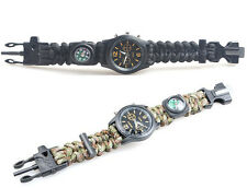 Watch Survival Bracelet Paracord 550With Compass Flint Whistle Handmade #BLK