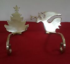 2 STOCKING HOLDERS TRUMPET ANGEL & XMAS TREE LONG HOOK GOLD COLOR /BRASS INDIA