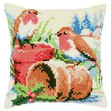 Robins Christmas Large Holed Printed Tapestry Canvas Cushion Kit - Cross Stitch