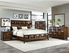 ATHERTON-5pcs Walnut Brown King Panel Bedroom Set Modern Furniture-Special Sale