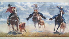 "COWBOYS CALF ROPING RODEO WESTERN Wallpaper Border 9"" blue"