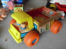 Vintage 1961 Wood Plastic Fisher Price Men Working Dump Truck 145