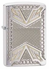 "Zippo ""Arrowhead Pattern"" Armor Brushed Chrome Lighter, Deep Carved, 28808"