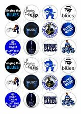 24 SINGING THE BLUES TOPPER WAFER RICE EDIBLE FAIRY/CUPCAKE  CAKE  TOPPERS