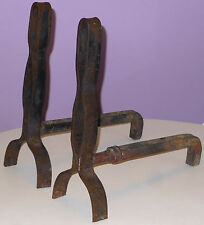 VINTAGE FIREPLACE ANDIRONS HANDCRAFTED FOLK ART SCRAP IRON OLD CAR PARTS