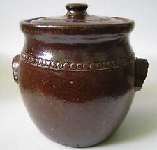 VINTAGE BENDIGO Australia STONE-WARE Bean Pot Hand Made Dark Brown