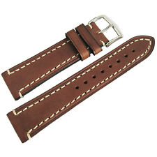 18mm Hirsch Liberty Mens Brown Leather Contrast Stitched Watch Band Strap