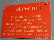 Toddler Infant Baby Definition Sign Kids Children Rustic Cute Wooden Cot Toys